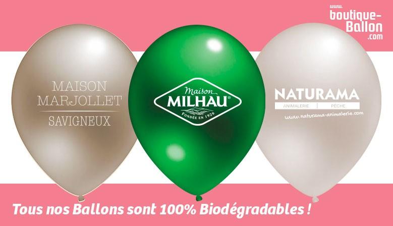 Tous nos Ballons de Baudruche sont certifiés 100% Biodégradable - Ballon Gonflable Personnalisé